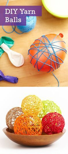 diy yarn balls dip the yarn in white glue and wrap the yarn around the balloon and let it dry to become stiff before you can burst the balloon.