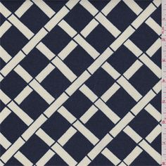 """""""Leaf"""" by Premier Prints. A navy blue and ivory lattice print. This medium weight woven polyester fabric is suitable for indoor and outdoor use.Compare to $11.00/yd"""