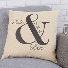 personalised ampersand wedding cushion by tillyanna | notonthehighstreet.com
