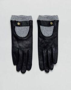 ASOS Leather Glove With Rib Cuff