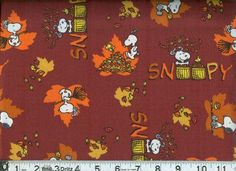 Snoopy Peanuts Fall Autumn Fabric 100% Cotton Sewing Quilt Fabric Thanksgiving