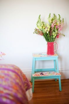 Paint and paper the tops of affordable Ikea step stools. | 15 Cheap And Easy Ways To Make Your Bedroom More Colorful