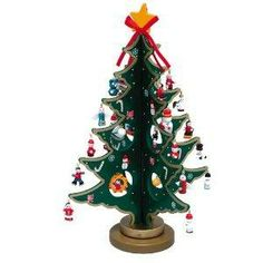 """12.25"""" Wooden Christmas Tree With Miniature Ornaments Table Top Decoration"""