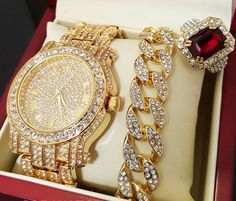 ICED OUT GOLD TONE WATCH, RING & BRACELET COMBO SET