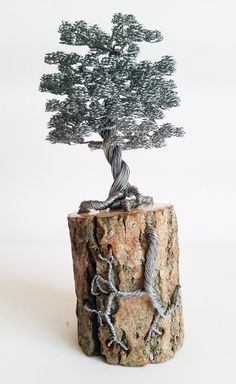 Rustic bonsai wire tree sculpture decorated on by BonsaiWireTree