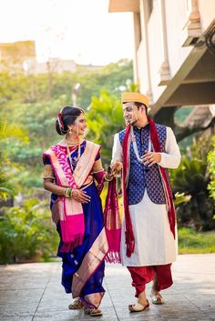 """Prajak Thakur """"P + C"""" Candid Couple Shot - Bride in a Blue Sequinned Lehenga and Groom in a White and Blue Suit. Marriage Party Dress, Couple Wedding Dress, Wedding Outfits For Groom, Indian Bridal Outfits, Marathi Bride, Marathi Wedding, Marathi Saree, Indian Wedding Couple Photography, Wedding Saree Collection"""