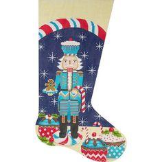 Needlepoint Christmas Stocking<BR>Turquoise Nutcracker