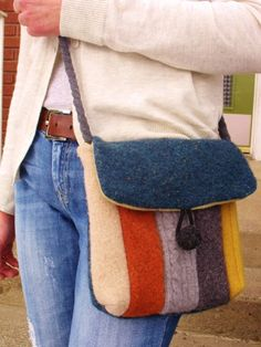 PDF Pattern-Recycled Wool Sweater Hip Messenger Bag-cross body strap. $6.00, via Etsy.