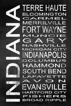 Subway Indiana State 1 by Melissa Smith | Urban Art District.  Modern subway sign chalkboard typography features destinations in Indiana state such as: Terre Haute, Bloomington, Carmel, Merrilville, Fort Wayne, Muncie, Gary, Nashville, Michigan City, Indianapolis, Columbus, Hammond, South Bend, Lafayette, Avon, Evansville, Hartford City, Fishers, Broad Ripple  Embrace your love for Indiana and add some urban sophistication to compliment your modern style with a stylish subway sign. It…