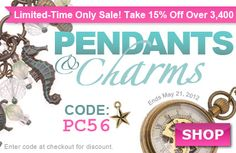 Sale! Save on over 3400 #pendants and #charms at www.beadaholique.com through Monday, May 21, 2012.  Find the perfect focal or accent piece for your #beading #crafts or #diy #jewelry making projects.