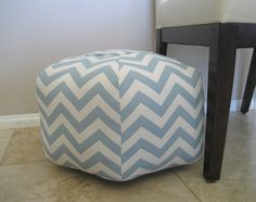 "18"" Ottoman Pouf Floor Pillow Blue Natural Zig Zag Chevron. $80.00, via Etsy."