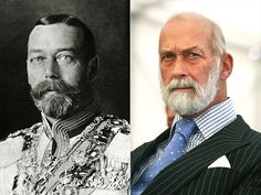 King George V and his grandson Prince Michael of Kent, first cousin to the Queen.  Royal look alikes.  George V was a cousin to the Tsar Nicholas and Kaiser Wilhelm.
