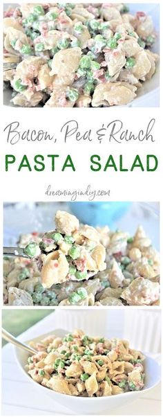 Easy Creamy Bacon Pea and Ranch Pasta Salad Side Dish Recipe Family Favorite - N. Easy Creamy Bacon Pea and Ranch Pasta Salad Side Dish Recipe Family Favorite - No chopping, dicing or waiting required. Ready in 15 minutes . Barbecue Sides, Barbecue Side Dishes, Side Dishes Easy, Side Dish Recipes, Cold Side Dishes, Picnic Side Dishes, Supper Recipes, Barbecue Recipes, Side Dish For Potluck