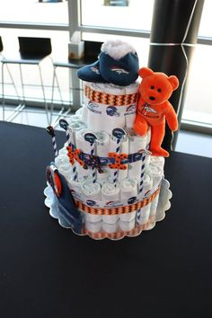 Denver Broncos 3 Tier Diaper Cake Crafts Towel Cakes
