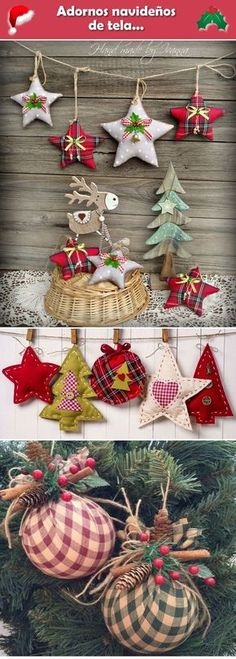 Adornos navideños D… Adornos navideños de tela. Rustic Christmas Ornaments, Noel Christmas, Homemade Christmas, Christmas Tree Decorations, Christmas Wreaths, Ornaments Ideas, Christmas Projects, Holiday Crafts, Christmas Ideas To Make