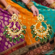 - Gold Drop Earrings for Women with Cz, Emerald Beads & Pearls Gold Ruby Necklace, Gold Jhumka Earrings, Gold Earrings Designs, Moon Earrings, Emerald Earrings, Emerald Jewelry, Green Earrings, Gold Drop Earrings, Gold Jewelry