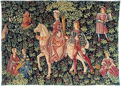 Nobewoman on horseback, a mille-fleur style tapestry originally woven in the 16th century in Loire Valley, France