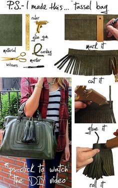 I went on a total fringe-binge this summer so I'm obsessed with this tutorial. Haven't been able to find the perfect fringe bag, maybe I'll make my own!