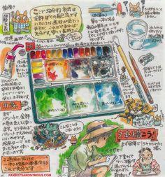 hayao miyazaki watercolor advice drawing technique image manga
