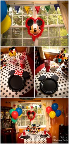 #Mickey Mouse party ideas. Love the polka dot table cloth.  And the mickey color balloons. Basic n cute
