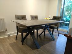 Fixed version of Xenon table in Dekton Orix top and Graphite legs. On the picture with our dining chairs FLORIDA in Comfy and Graphite legs. Available in other sizes and configurations. Delivered to our client in Surbiton. Bedroom Office, Modern Bedroom, Dining Chairs, Dining Table, Leather Bed, Sofa Design, Contemporary Furniture, Graphite, Sideboard