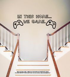 In This Home We Game Quote Wall Vinyl Decal  Home by LaserGraphix