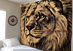 Find amazing The Boho Street - Exclusive Pure Sparkling Gold and Black Lion Face Tapestry, Indian Handmade Wall Art, Hippie Wall Hanging, Bohemian Bedspread, Perfect Tapestry for Decoration lion gifts for your lion lover. Great for any occasion! Lion Tapestry, Mandala Tapestry, Tapestry Bedroom, Tapestry Wall Hanging, Bedroom Wall, Bedroom Ideas, Master Bedroom, Bedroom Decor, Bohemian Bedspread