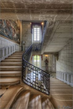 Valencay castle stairs  by AnZanov,  #All about Luxury life and Travel