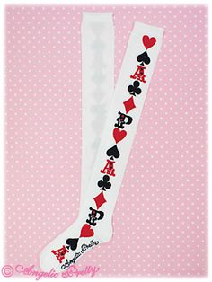 Angelic Pretty Royal Cards Socks in White OR Pink OR Red OR Black