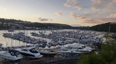 The sun setting over Kingswear and Dartmouth
