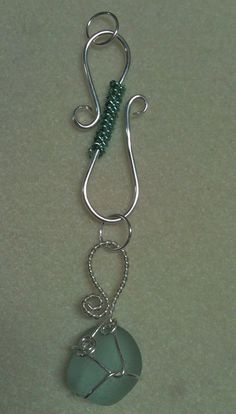 Beach glass and SS wire wrapped pendant