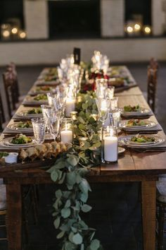 Summer or fall wedding centerpiece idea - long garland of greenery draped over a reception table! Great for a forest or winery feel with candles! Reception Table, Wedding Reception, Wedding Venues, Burgundy Bridesmaid Dresses, Burgundy Wedding, Fall Wedding Centerpieces, Floral Centerpieces, Long Table Wedding, Summer Wedding