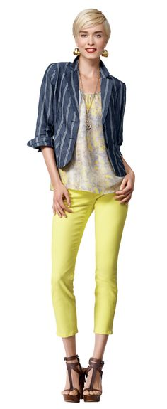 """Colored denim obsession continues...this """"limon"""" cropped skinny jean from @CAbiclothing rocks the look in comfort & style."""