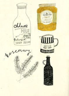 Drawing jars and bottles.