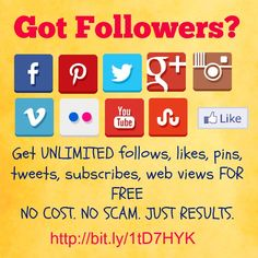 Are you looking for a fun, FREE way to promote your website, get Facebook, Twitter, Pinterest, Google+, Stumblupon, and Soundhound Followers, likes, pins, tweets?  Totally FREE way, just create a username and password and get started. Best kept secret in social media!!!