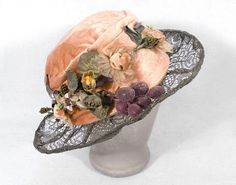 French velvet and metallic lace hat, circa 1920, via the Vintage Textile archives.