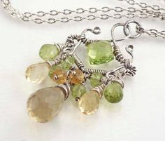 wire wrapped citrine and peridot necklace
