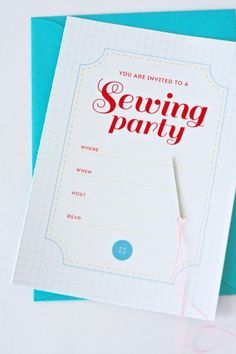 Sewing Themed Party Supplies   Free printable: Sewing Party Invitation {One Charming Party}