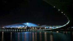 Shanghai Pudong International Airport terminal building seen at night
