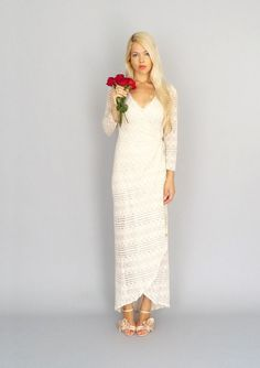 Marrakech: Vintage lace bohemian hippie wedding wrap gown with long sleeves...I love this dress(: