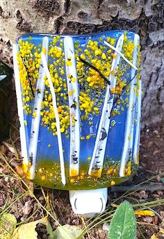 Bring the warmth and beauty of glowing aspens to your room with this aspen fused glass night light! Each one of a kind piece is handcrafted using glass, stringers, frit and handpainting. Sure to be a memorable gift for that special someone!  Please specify your seasonal preference: Spring or Autumn
