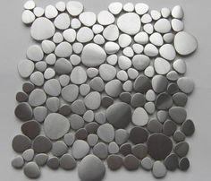 Brushed Stainless Steel Pebbles Mosaic Tile Wall Backsplash Metal Tiles New | eBay
