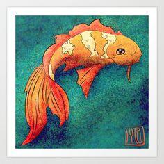 Golden Koi Art Print by Nikita Madora
