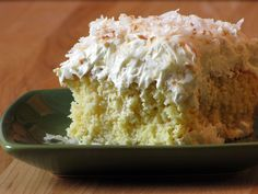 Tres Cocos Cake (Three Coconuts Cake) - This is one of my favorite coconut cakes. I DON'T toast the coconut. To the topping, I ADD 2 tsp unflavored gelatin. I ADD 1/3 cup sour cream to the Cool Whip and blend together before spreading over the top of the cake. If you are out of coconut pudding, you can substitute 1 pkg of vanilla pudding + 1/2 tsp coconut flavoring.