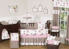 Pink Brown Elephant Baby Girl Crib Comforter Bedding Set Collection for Newborn | eBay