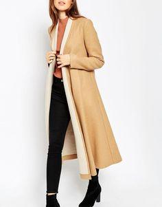 ASOS Ladies Oversized Coat with Contrast Shawl Collar in Camel UK 10/EU 38/US 6