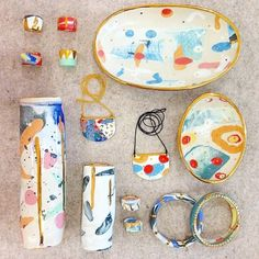 Ruby Pilven ceramics _ she works with coloured clay rather than glaze.