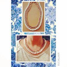 Maxi collar de perlas con cadena dorada super clásico de venta en MOMA