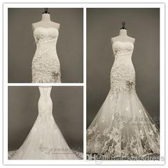Wholesale 2014 Hot Lace Backless Wedding Dresses High Quality Strapless Chapel Train Applique Beaded Pleats Mermaid Wedding Dresses, Free shipping, $147.43/Piece | DHgate Mobile
