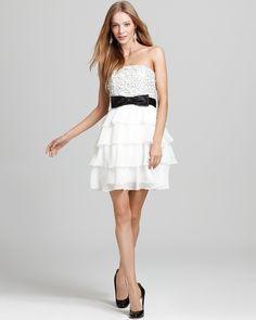Basix Beaded Beaded Silk Chiffon Strapless Dress